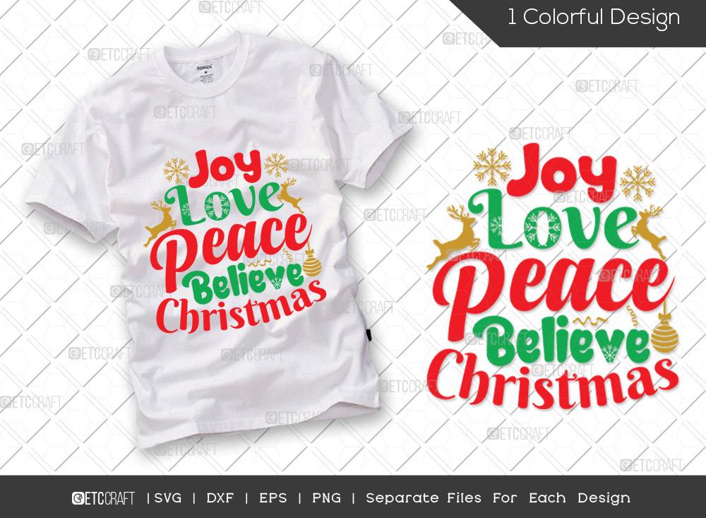 Joy Love Peace Believe Christmas SVG Cut File