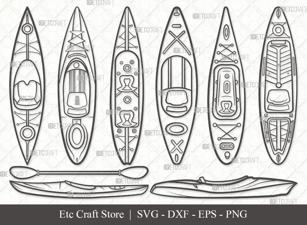 Kayak Outline SVG Cut File   Kayak Boat SVG