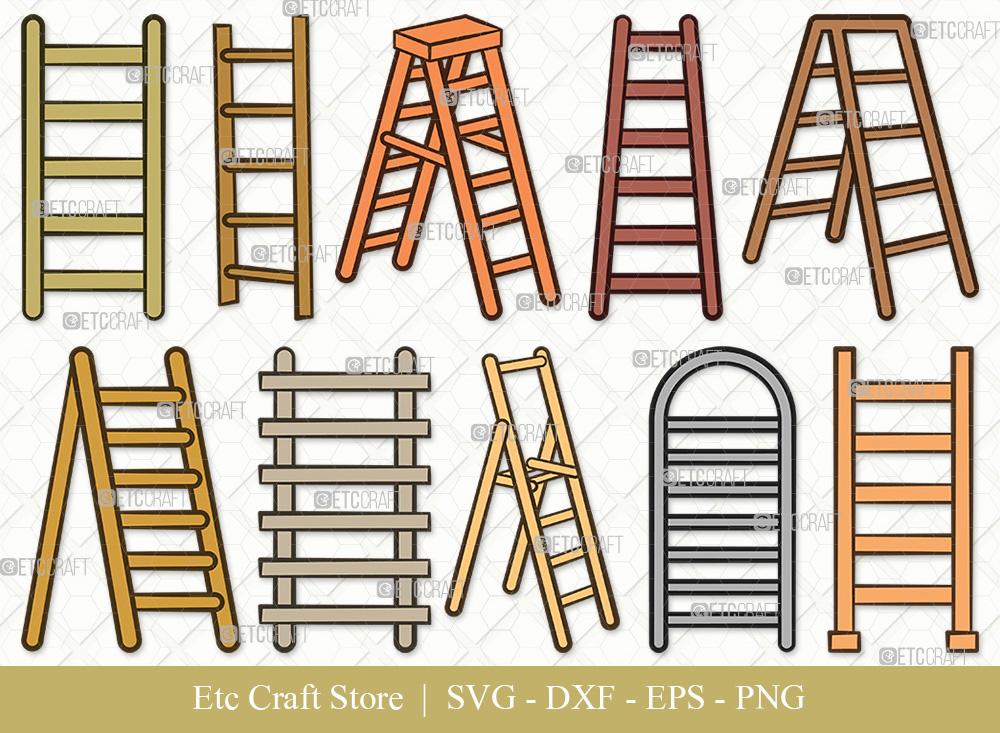 Ladder Clipart SVG Cut File | Step Ladder SVG