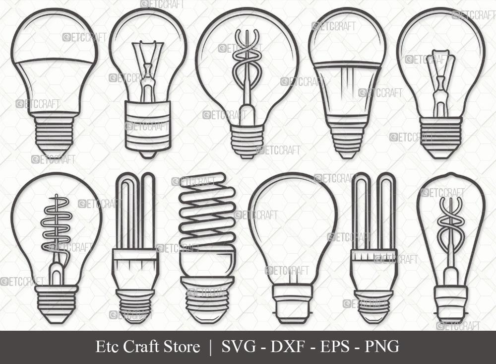 Light Bulb Outline SVG Cut File   Bulb SVG