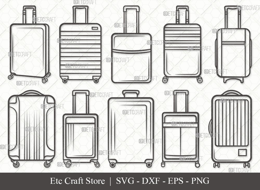 Luggage Outline SVG Cut File | Suitcase SVG