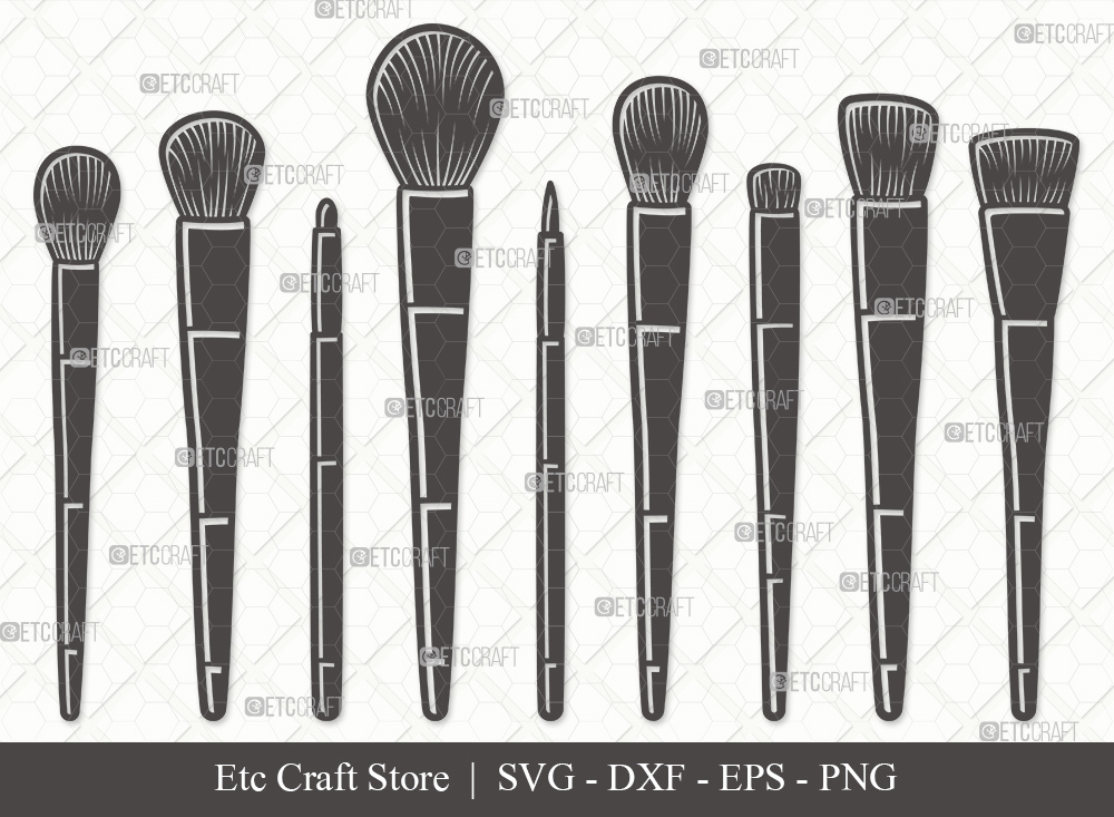 Makeup Brushes Silhouette SVG Cut File