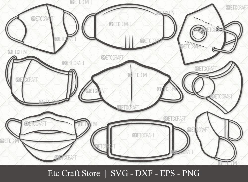 Masks Outline SVG Cut File Medical Mask SVG