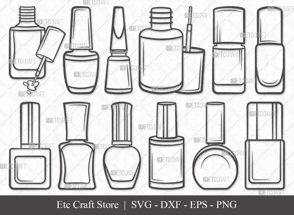 Nail Polish Outline SVG | Polish Bottle SVG