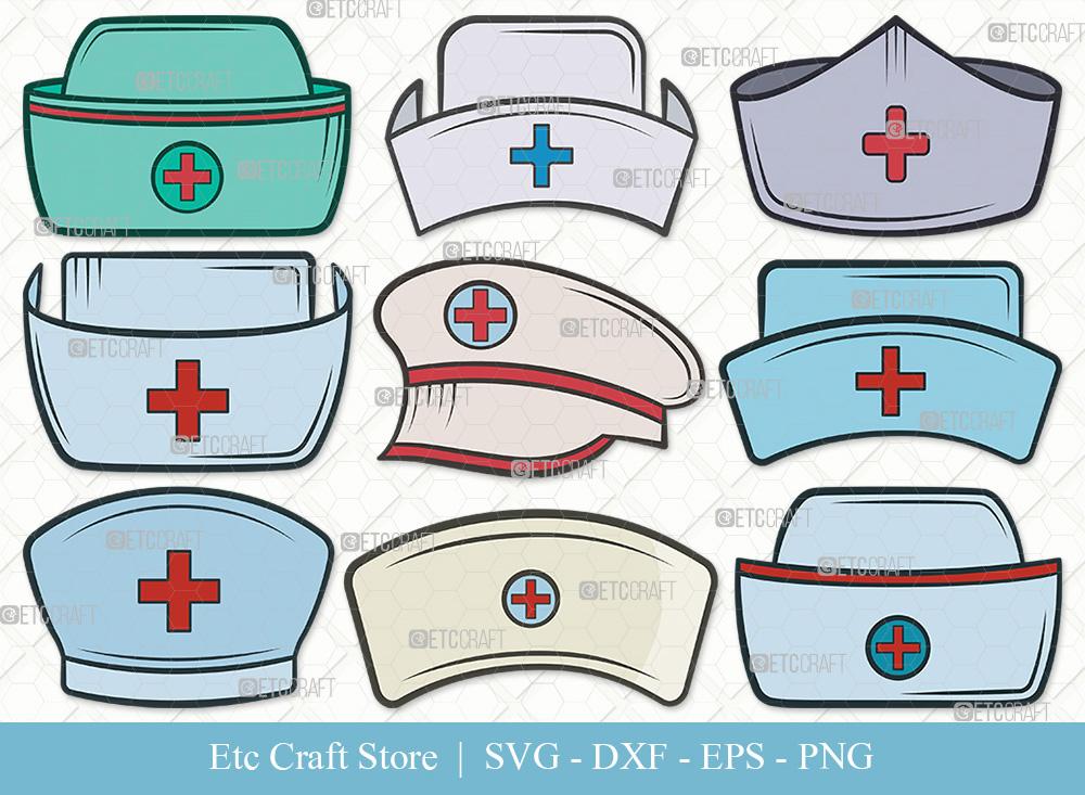 Nurse Hat Clipart SVG Cut File | Medical Hat SVG