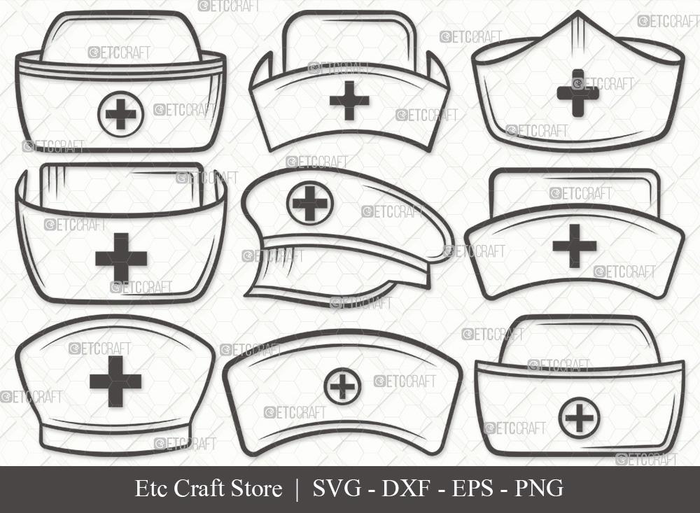 Nurse Hat Outline SVG | Medical Hat SVG