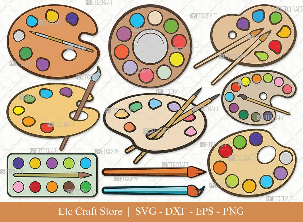Paint Palette Clipart SVG Cut File   Drawing SVG