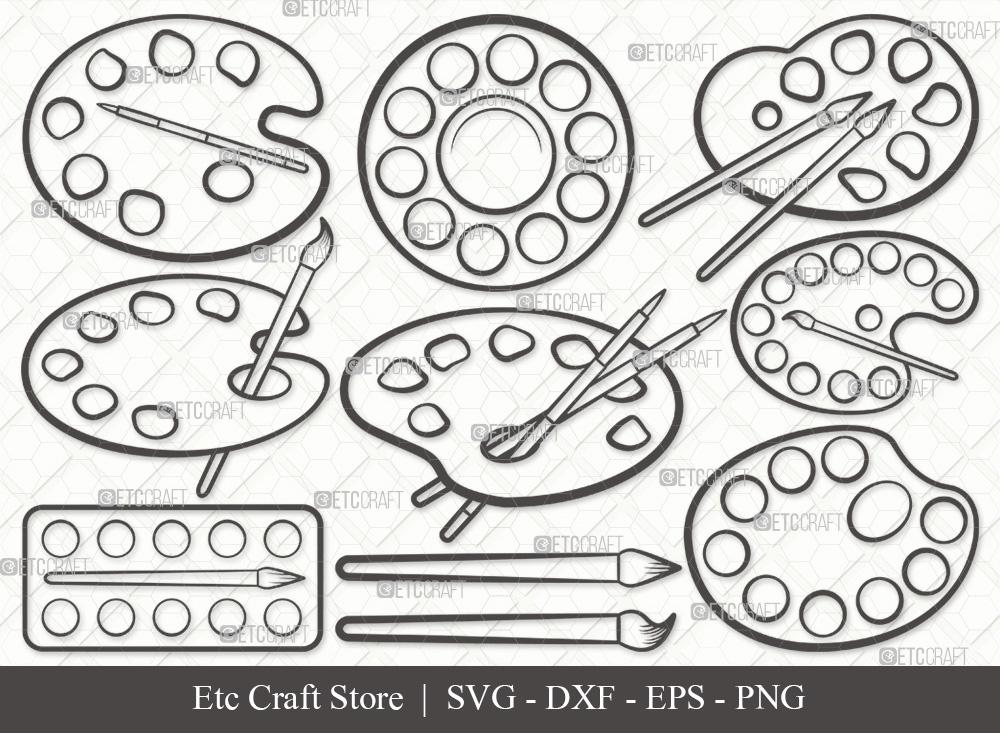 Paint Palette Outline SVG Cut File   Drawing SVG