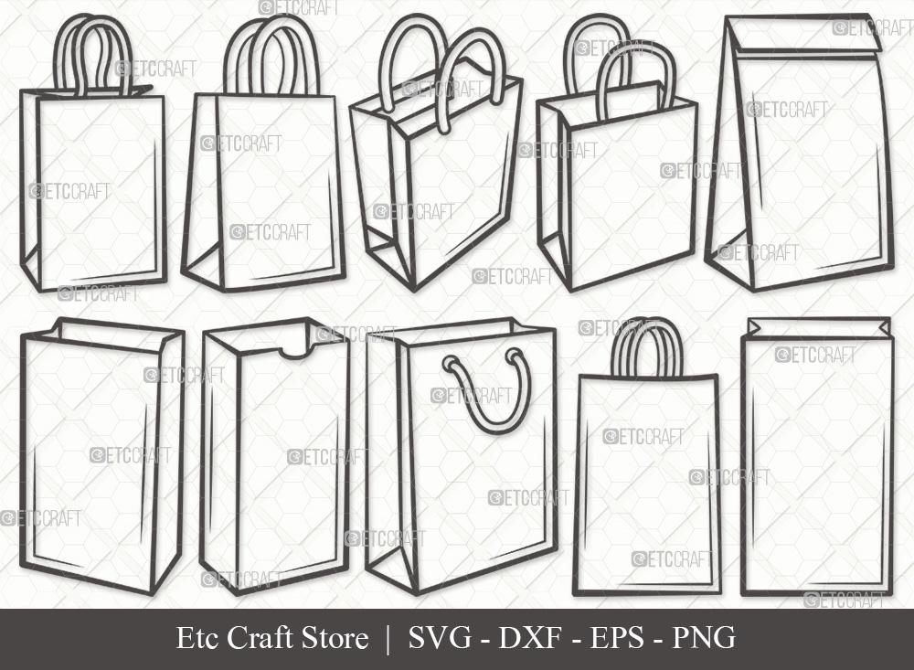 Paper Bag Outline SVG Cut File   Hand Bag SVG