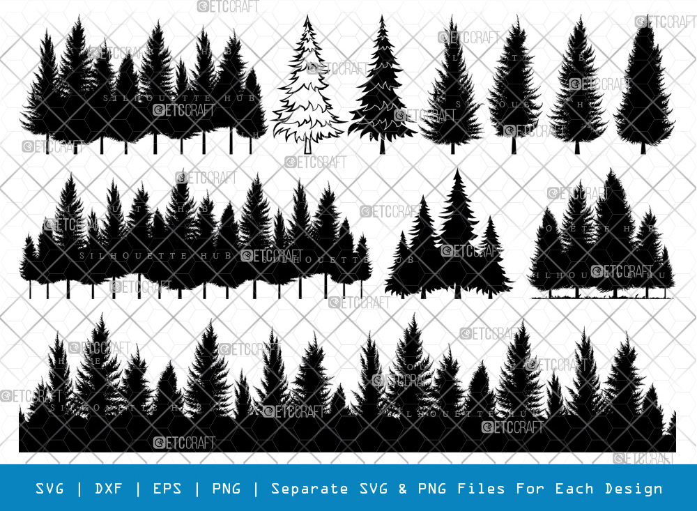 Pine Trees SVG Cut Files | Forest Line Silhouette