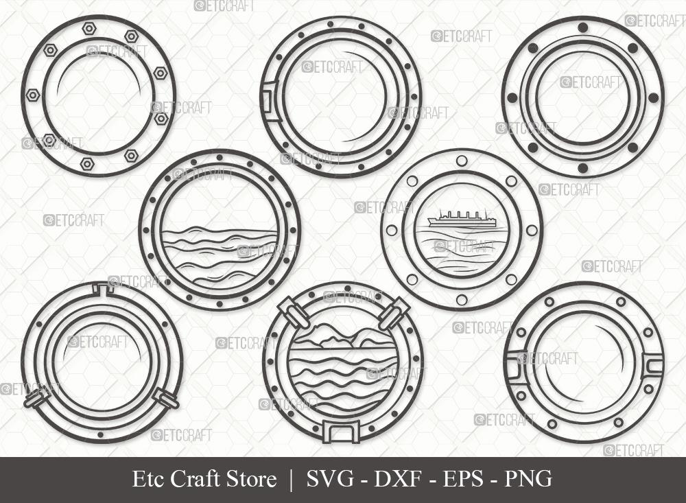 Porthole Outline SVG | Ship Porthole SVG Bundle