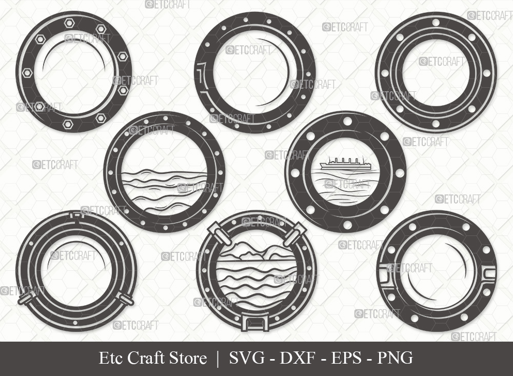 Porthole Silhouette | Ship Porthole SVG Bundle
