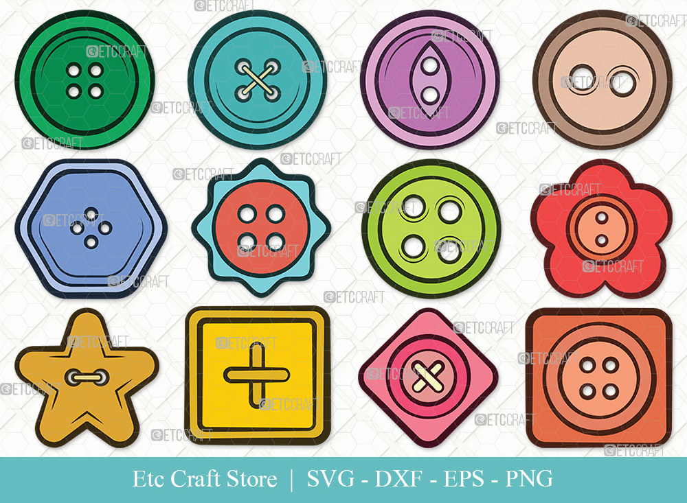 Sewing Button Clipart SVG Cut File | Button SVG