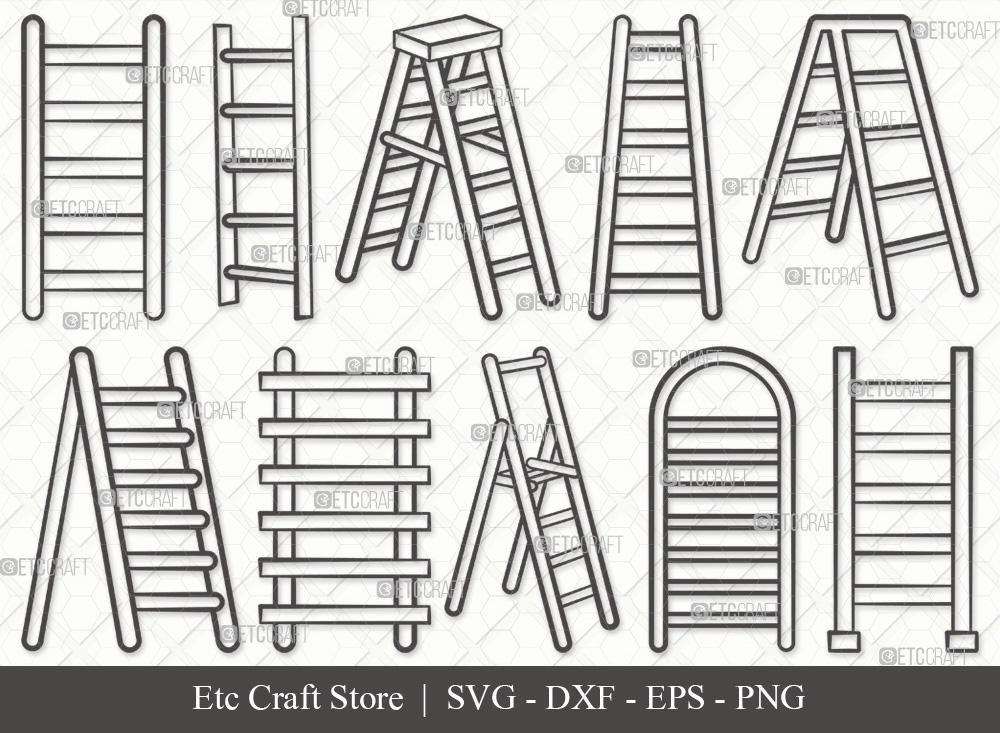 Simple Ladder Outline SVG | Step Ladder SVG
