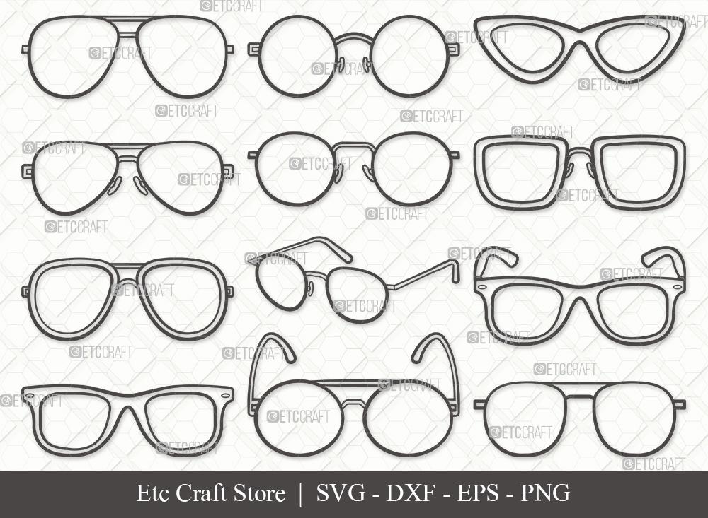 Sunglass Outline SVG Cut File | Eyeglasses SVG