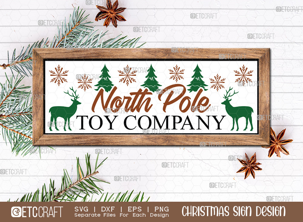 North Pole Toy Company Christmas Sign SVG