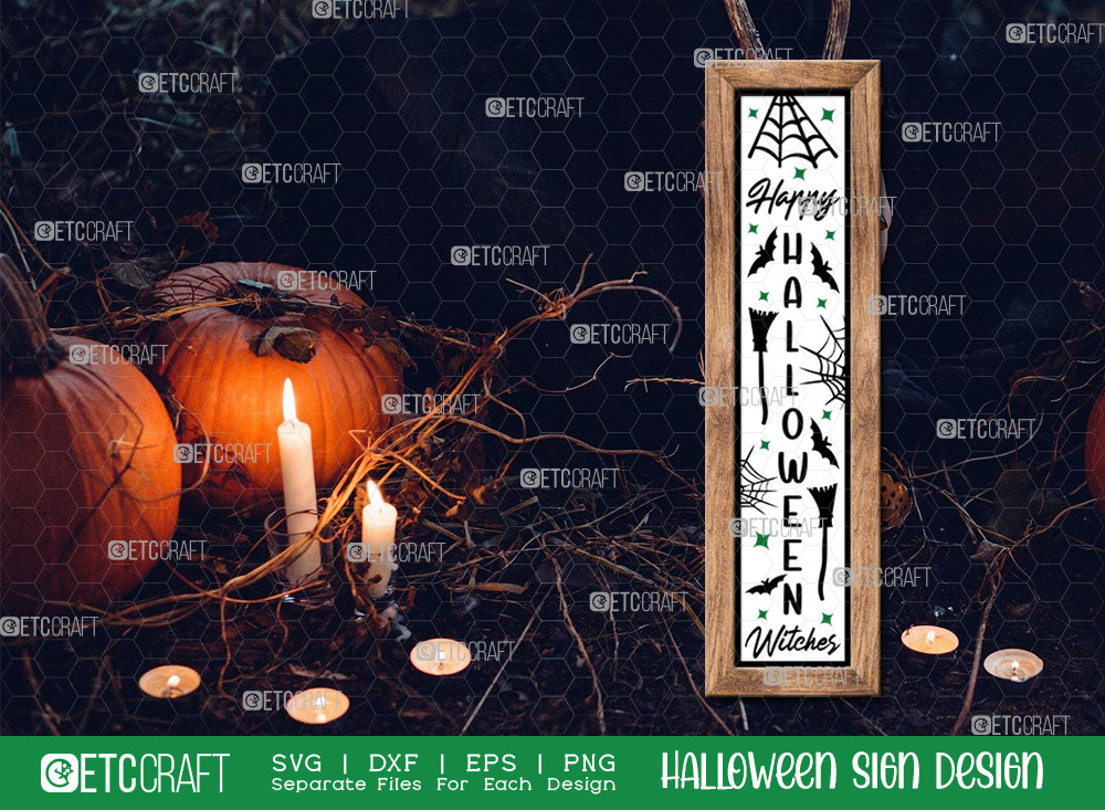 Happy Halloween Witches Sign SVG Cut File