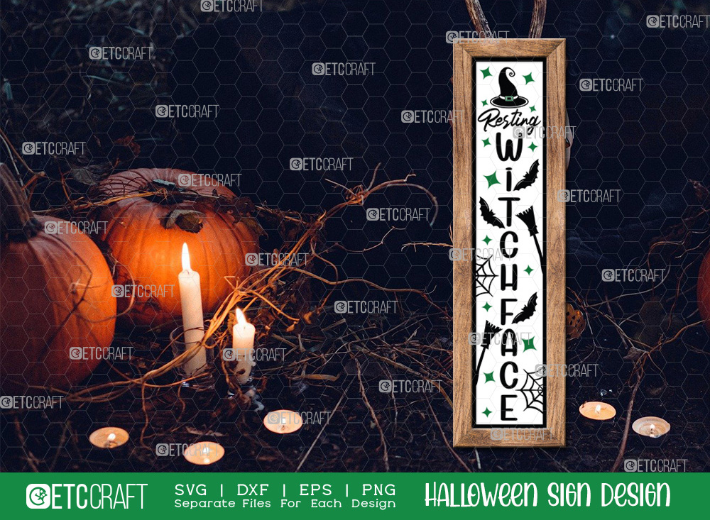 Resting Witch Face Sign SVG   Halloween SVG