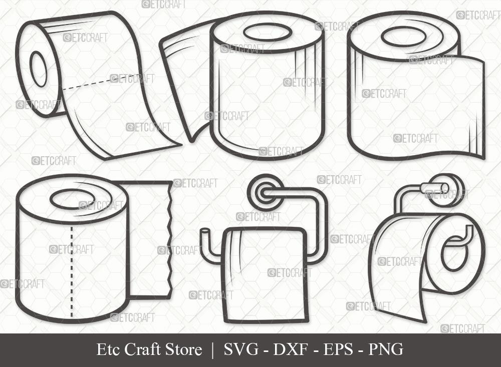 Toilet Paper Outline SVG | Tissue Paper SVG