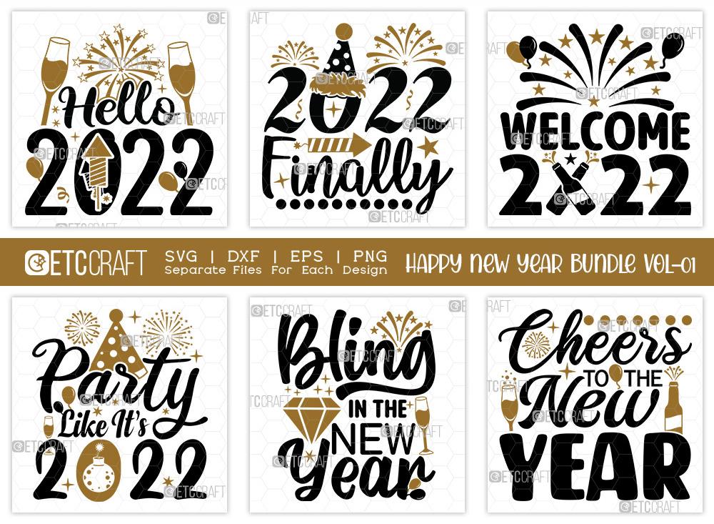 Happy New Year Bundle Vol-01 | Hello 2022 SVG