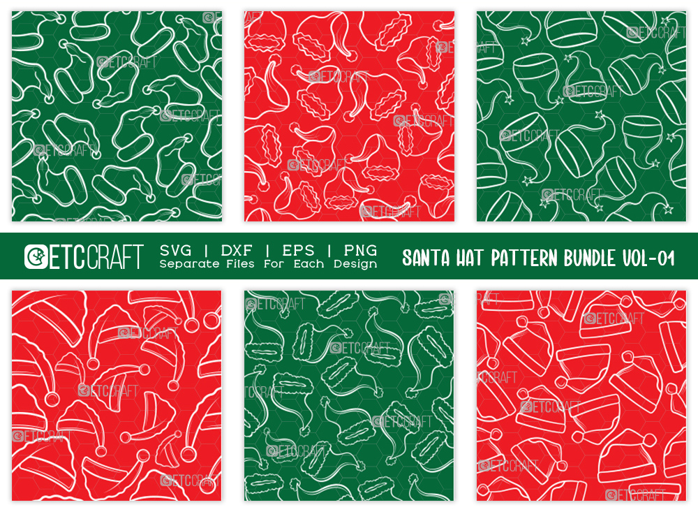 Santa Hat Pattern Bundle Vol-01 SVG Cut File