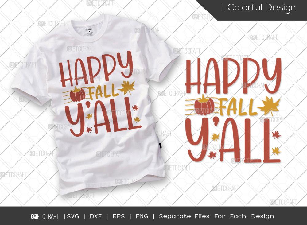 Happy Fall Y'all SVG Cut File | Hello Fall SVG
