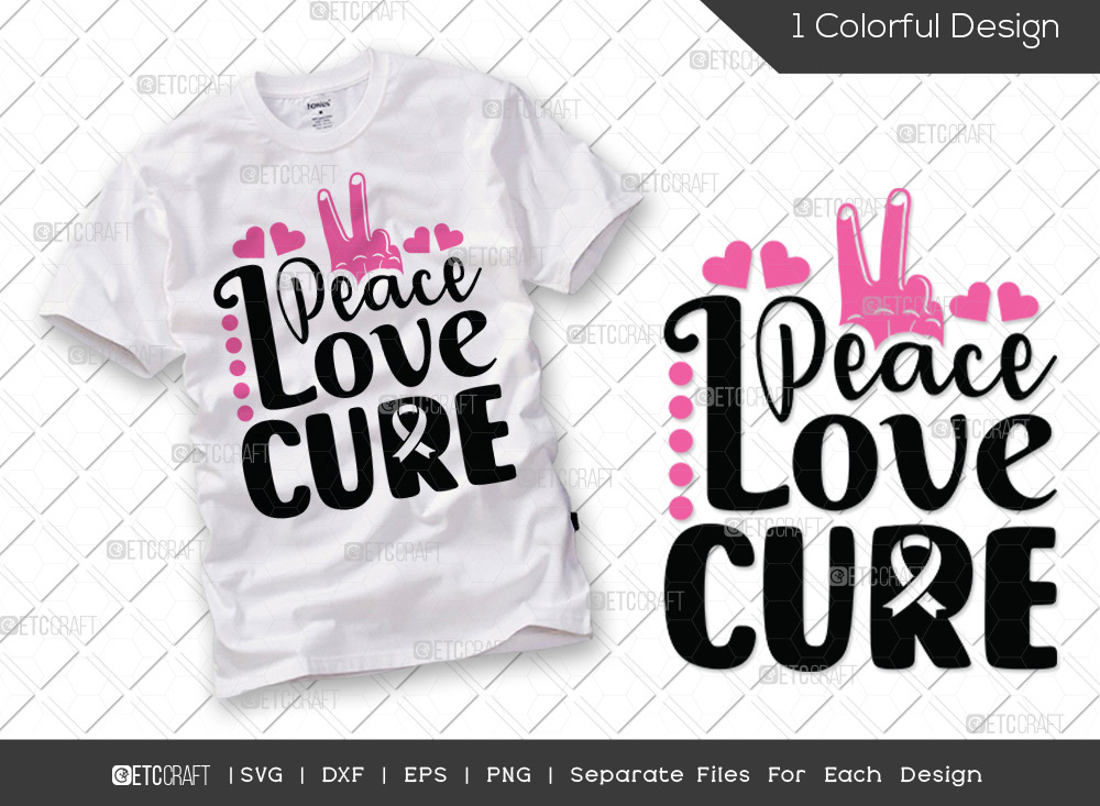 Peace Love Cure SVG | Breast Cancer SVG