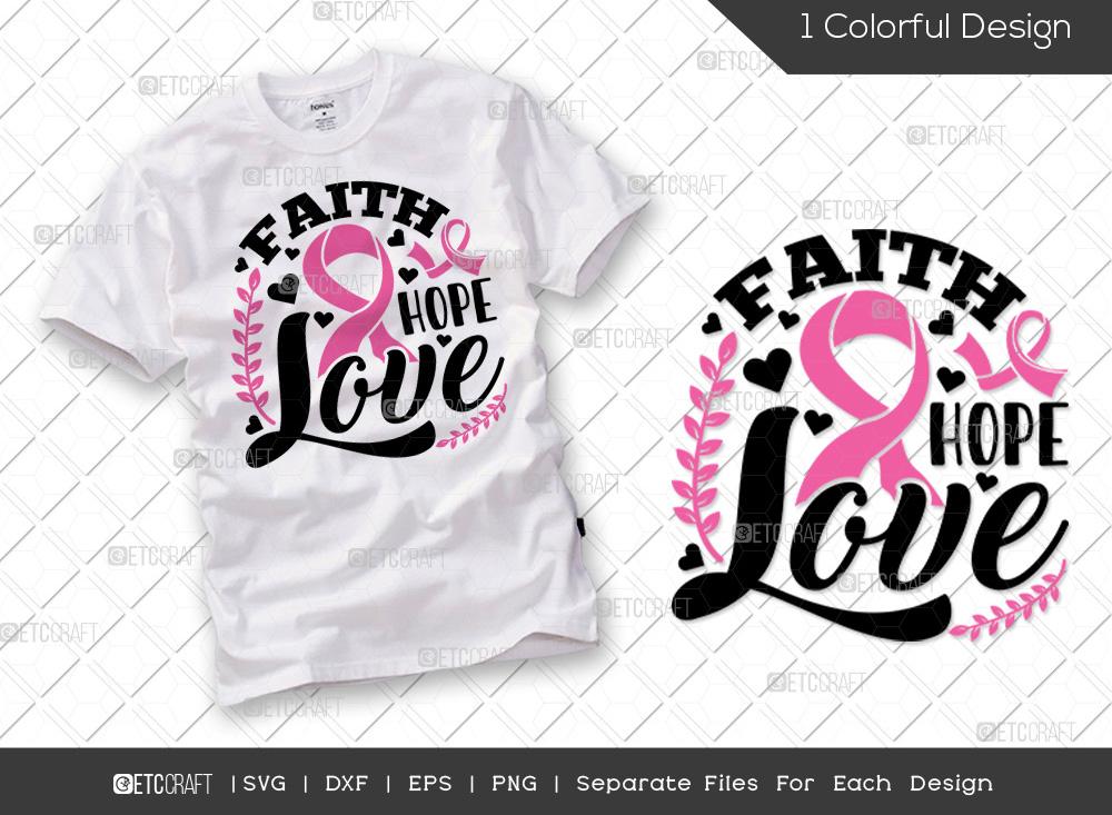 Faith Hope Love SVG | Breast Cancer SVG