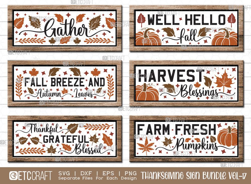 Thanksgiving Sign Bundle Vol-17 | Gather SVG